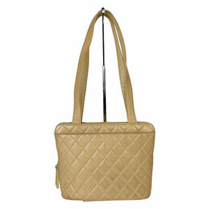 CHANEL Matelasse Beige Quilted Leather Tote Bag